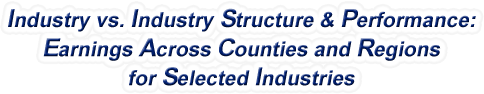 Mississippi - Industry vs. Industry Structure & Performance: Employment Across Counties and Regions for Selected Industries